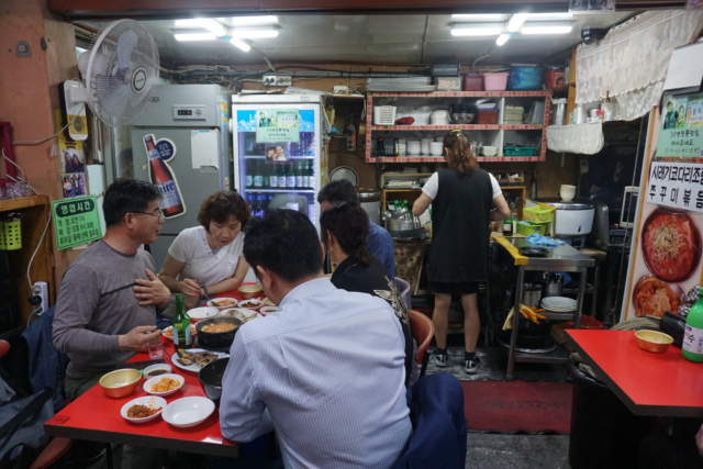 Inside the grilled fish restaurant